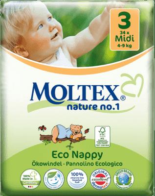 MOLTEX Nature no. 1 Midi, 34 szt (4 - 9 kg) – pieluchy jednorazowe