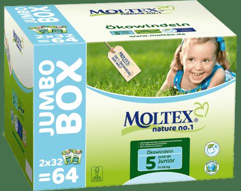 MOLTEX Nature no. 1 Junior, 64 ks (11 - 25 kg) - JUMBO BOX – jednorázové plienky