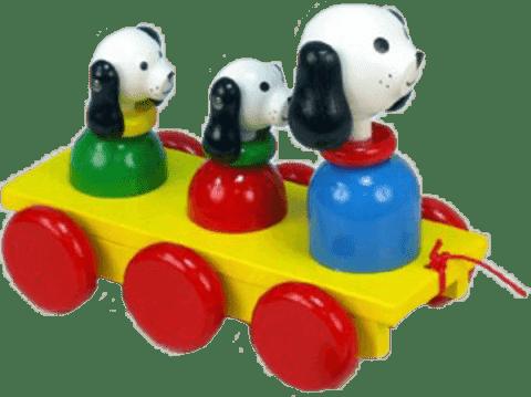 MIVA Tři psi dřevo - tahací barevní