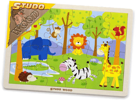 STUDO WOOD Puzzle safari 24 ks