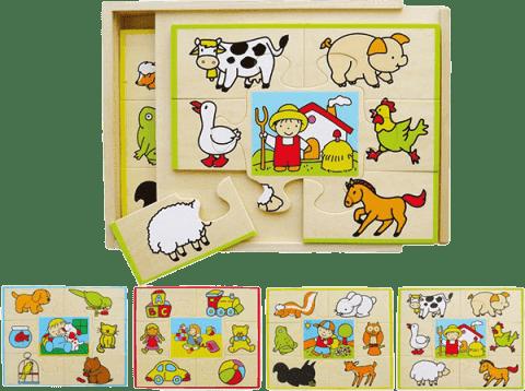 STUDO WOOD Puzzle set 4 ks-krabička