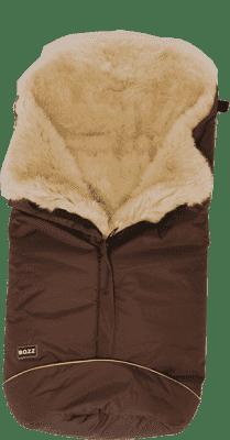 B.O.Z.Z Fusak do kočárku z ovčí vlny - dlouhý vlas, Brown / Linen