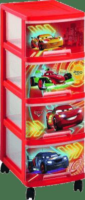 CURVER Zásuvková polica (kolieska) Cars, 4x10l
