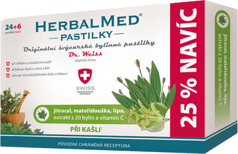 HERBALMED Dr.Weiss Jitrocel+mateřídouška+lípa+vitamin C 24+6 pastilek při kašli