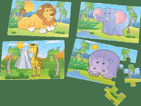 MIKRO TRADING Puzzle dřevěné 4v1 safari