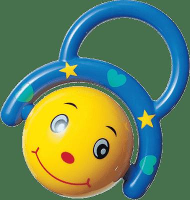 CANPOL Babies Chrastítko smějící se míček – modrý
