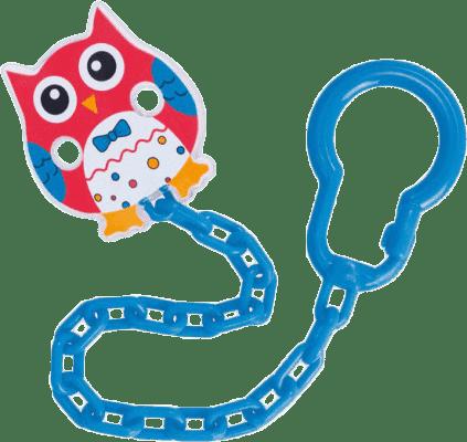 CANPOL Řetízek na šidítko sova – červená, modrá