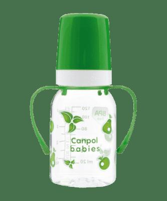 CANPOL BABIES Láhev s jednobarevným potiskem 120 ml s úchyty bez BPA zelená