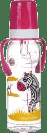 CANPOL Babies Láhev s potiskem kontinenty 250 ml s úchyty bez BPA – zebra