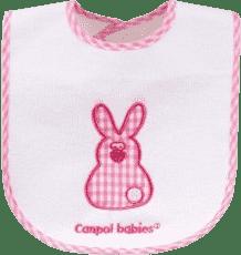 CANPOL Babies Śliniak ceratkowy – bawełniany z rzepem/PEVA słoń/królik – zajączek