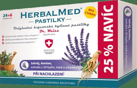 HERBALMED Dr.Weiss BEZ CUKRU Šalvia + ženšen + vitamín C 24 + 6 pastiliek pri prechladnutí