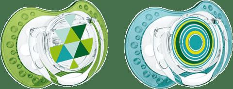 LOVI Šidítko silikonové dynamické LOVI ETNO 6-18m 2ks – modro/zelené