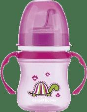 CANPOL Babies Tréninkový hrníček EasyStart zvířátka 120ml – růžová