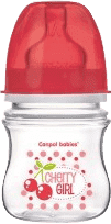 CANPOL Babies Fľaša EasyStart Fruits 120ml bez BPA- červená