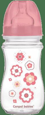 CANPOL Láhev EasyStart Newborn baby 240ml 0% BPA – řůžové víčko
