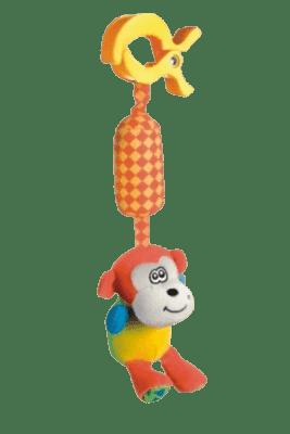 CANPOL Babies Plyšové chrastítko s klipem opička