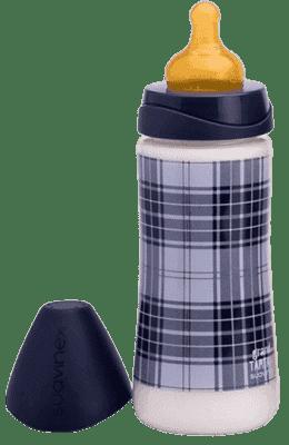 SUAVINEX Butelka szeroki otwór pp 360 ml lateksowy ustnik – kratka