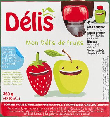 DÉLIS 100% ovocné pyré jablko-jahoda (4x90g) - ovocný příkrm
