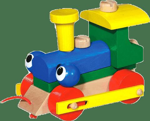 DETOA Mrkací mašinka/vlak ze dřeva, tahací