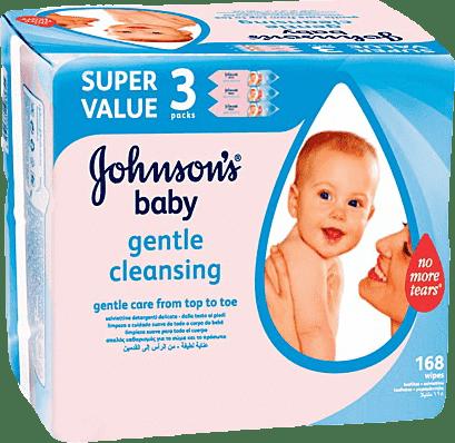 3x JOHNSON'S BABY Gentle Cleansing 56 ks - vlhčené obrúsky