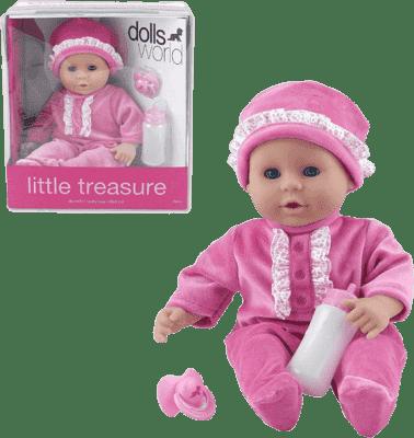 DOLLS WORLD Panenka Little Treasure Růžový obleček (láhev + dudlík)