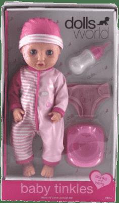 DOLLS WORLD Bábika Baby Tinkles (fľašu, nočník, plienky)
