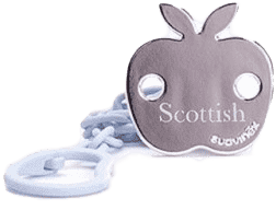 SUAVINEX Scottish řetízek na dudlík s klipem modrý - jablko