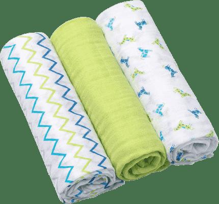 BABY ONO Plienky mušelínové Super soft, 3 ks, zelená