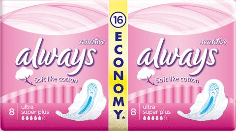 ALWAYS Ultra DUO Sensitive Super Plus (16 ks) – dámske vložky