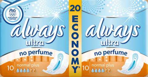 ALWAYS Ultra Normal+ bez obsahu parfému (20ks)
