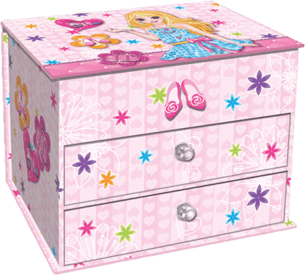 BINO Szkatułka na biżuterię z szufladkami – dziewczynka