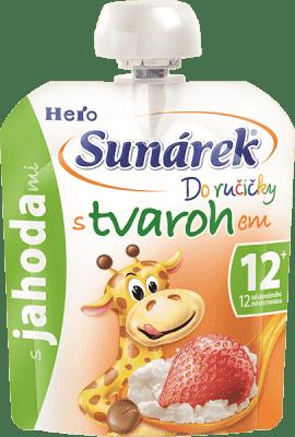 SUNÁREK Do ručičky s jahodami a tvarohem 80g - ovocný příkrm
