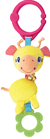 BRIGHT STARTS Hračka na C-kroužku Shimmy Shakers (0m+) - žirafa