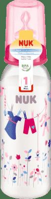 NUK růžová Láhev PP 240ml, silikon, velikost 1, M