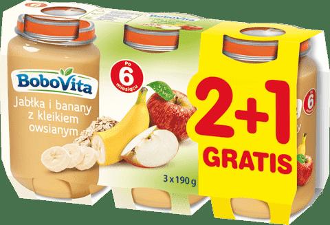 3x BOBOVITA Jabłka i banany z kleikiem owsianym (190g)