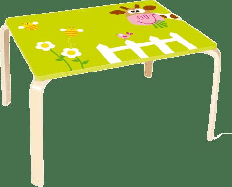 SCRATCH Drevený detský stôl Kravička