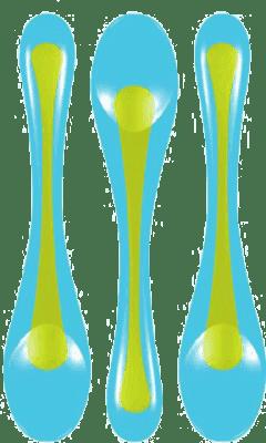 BROTHER MAX Zestaw 3 łyżeczek – niebieska/zielona