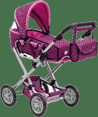 BINO Duży wózek dla lalek z torbą, różowo-czarny