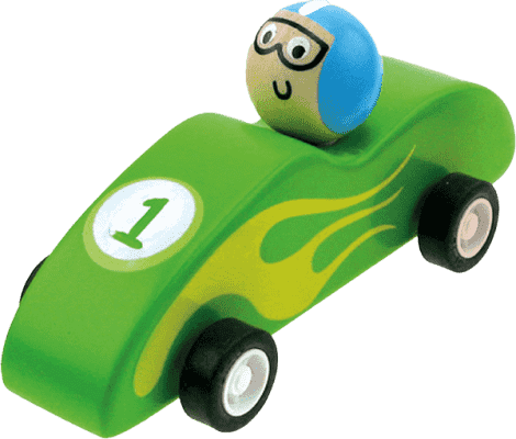 BINO Drevené autíčko so zotrvačníkom, zelené