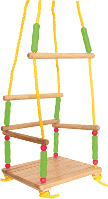 WOODY Drewniana huśtawka z barierką