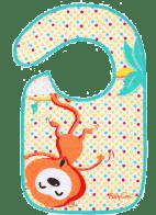 BABY ONO Podbradník froté / PVC stčervenáná, vodeodolný, 6m + Opica