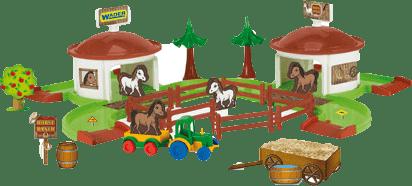 WADER Kid Cars 3D - Konský ranč s doplnkami WADER
