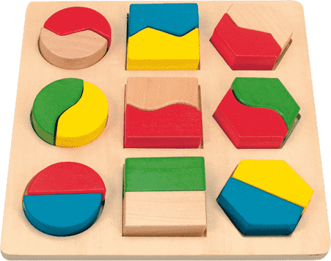 WOODY Destička s geometrickými tvary