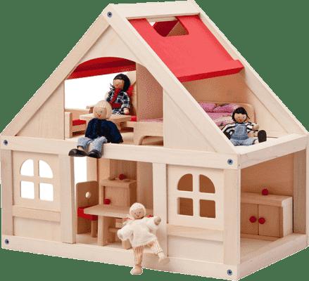 WOODY Domeček pro panenky s příslušenstvím, 21 dílů