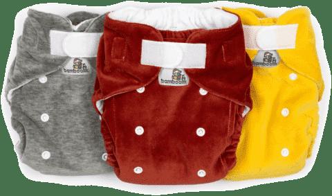 BAMBOOLIK Nočná nohavičková látková plienka, sada 3ks (šedá, žltá, tehlová)