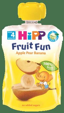HIPP BIO ovocné pyré Jablko-Hruška-Banán 90g