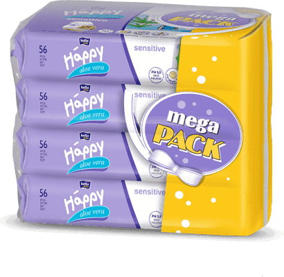 4x BELLA HAPPY BABY Chusteczki nawilżane sensitive z aloe vera 56 szt., MEGA PACK