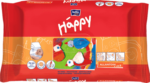 BELLA HAPPY BABY Vlhčené obrúsky s vitamínom E 64 ks