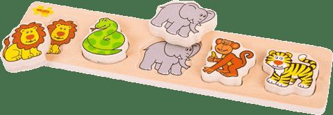 BIGJIGS Drevené široké vkladacie puzzle - Safari - hrúbka 2 cm