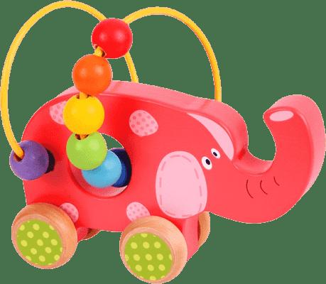 BIGJIGS Motorické hračky - Motorický labyrint na kolieskach - slon